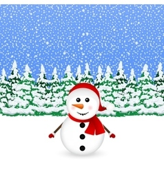 Snowman in snowy winter Christmas forest vector image vector image