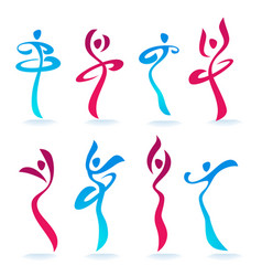 abstract dancing people women silhouettes for vector image vector image