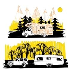 autumn landscape with camper van motorhome vector image