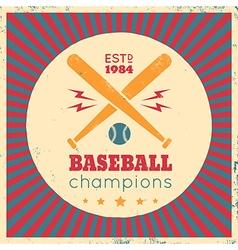 baseball vintage poster red vector image vector image