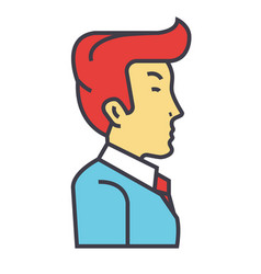 businessman manager side view concept line vector image