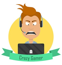 Cartoon Crazy Gamer Angry man with a laptop or a vector image