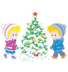 children skating around a christmas tree vector image