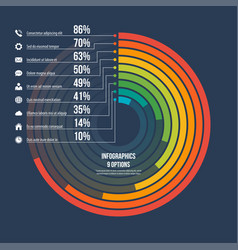circle informative infographic template 9 options vector image vector image
