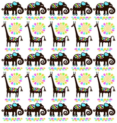 giraffes and elephants vector image vector image