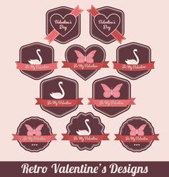 retro valentine labels vector image vector image