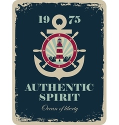 banner with an anchor and a ship steering vector image vector image