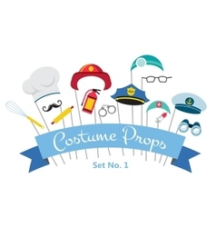 Costume party and photo booth props profession vector
