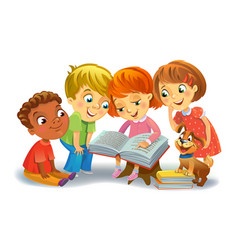 cute children reading books vector image vector image