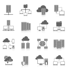 Hosting service black icons set vector image
