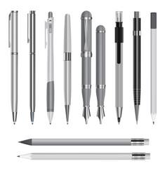 pen mockup set realistic style vector image
