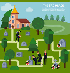 cemetery flat style vector image