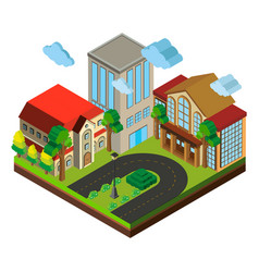 city scene with buildings and road in 3d design vector image