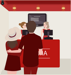 couple buy purchase movie ticket counter theater vector image