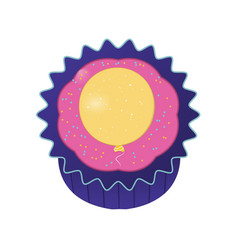 cupcake with yellow balloon vector image vector image