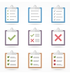 Flat Clipboard Icons vector image vector image