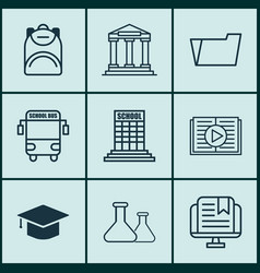 set of 9 education icons includes academy vector image vector image
