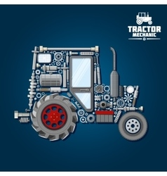 Tractor silhouette with mechanical parts icon vector image vector image