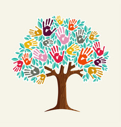 tree hand for diverse community help vector image vector image