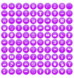 100 hand icons set purple vector image