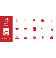 15 laundry icons vector image