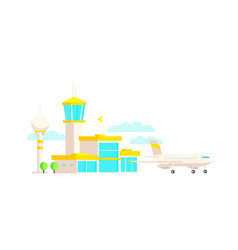 airport terminal building and airplane passenger vector image