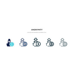 Anonymity icon in different style two colored vector