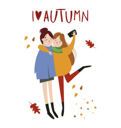 autumn in flat simple linear style vector image
