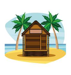 Beach wooden kiosk building house vector