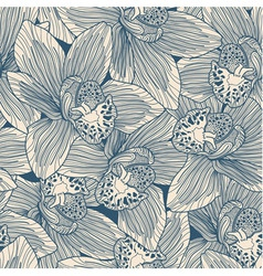 Beige and blue orchid drawing seamless pattern vector