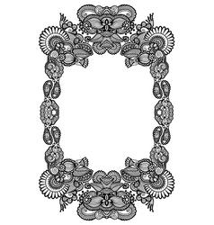 black and white floral frame vector image
