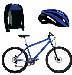 Blue bicycle helmet and shirt vector image