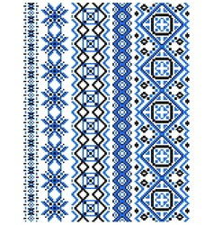 Blue embroidery borders and frames vector