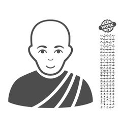 Buddhist Monk Icon With Bonus vector image