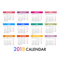 Calendar for 2018 template design week starts vector