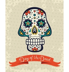 Card with sugar skull vector