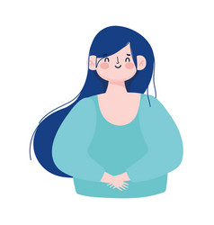 cartoon female woman blue hair character young vector image