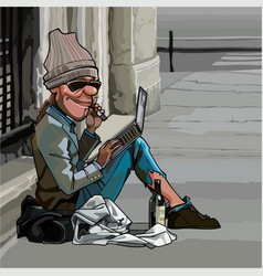 cartoon homeless man sitting outdoors with laptop vector image