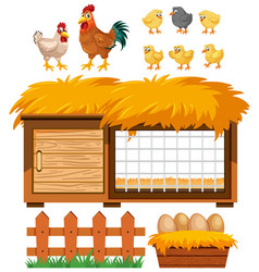 Chicken coop and many chickens on white background vector