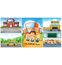 children and different school scenes vector image