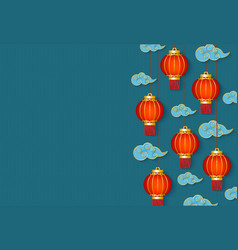 Chinese new year banner with red lanterns vector