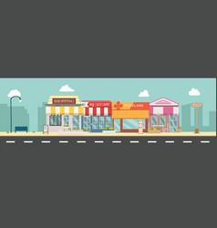 City street and store buildings vector