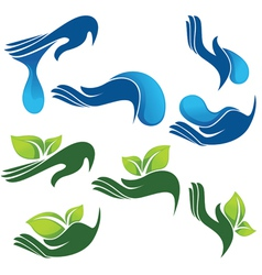 collection eco and beauty symbols vector image
