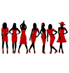 Collection of women silhouettes in red dress vector
