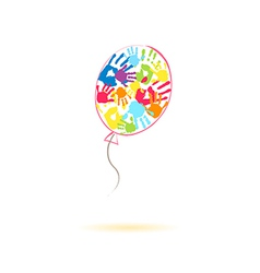 Colorful balloon of the handprints vector