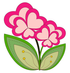 colorful heart flower plant isolated on white vector image
