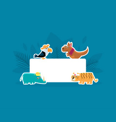 Cute animals holding empty banner toucan vector