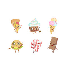 cute funny food characters set pizza cupcake vector image
