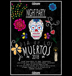 dia de los muertos day of the dead invitation vector image