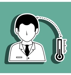 doctor with thermometer isolated icon design vector image